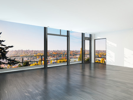 Empty sunny room with large windows and scenic view