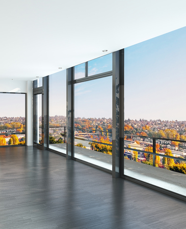 home office interior: Empty sunny room with large windows and scenic view