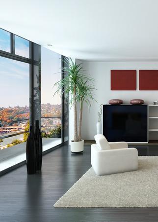 carpet and flooring: Modern loft interior with trendy living room furniture