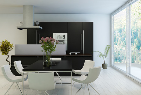 Black and white kitchen and dining table with huge windows photo