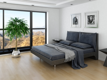 Modern bedroom interior with grey bed and huge window