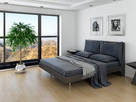 회색 침대와 거대한 창 현대 침실 인테리어 스톡 콘텐츠