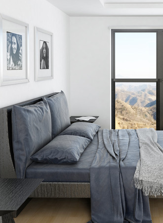 Modern bedroom interior with grey bed and huge window photo