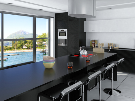 Luxury kitchen interior with windows photo