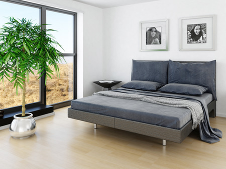 view of a comfortable bedroom: Modern bedroom interior with grey bed and huge window