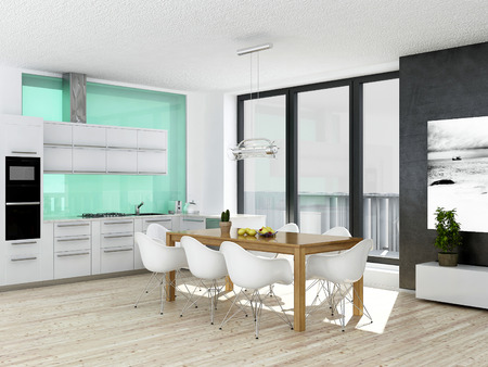 Modern white and green kitchen interior with wooden floor