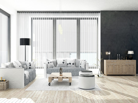 living room window: Black and white living room with wooden floor Stock Photo