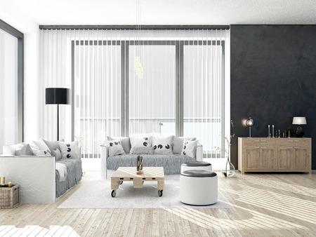 Zwart-wit woonkamer met houten vloer Stockfoto