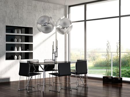 Modern dining room interior 스톡 콘텐츠