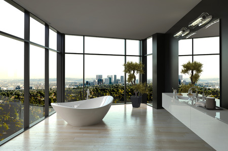 penthouse: Modern white luxury bathroom interior