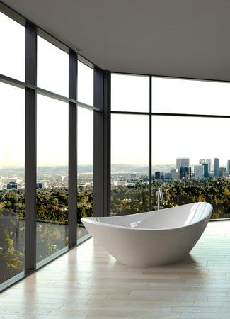Modern white luxury bathroom interior photo
