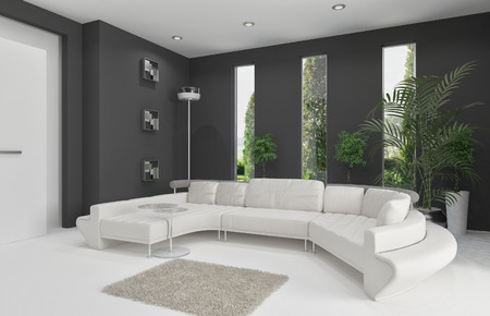3D rendering of white couch against gray wall Stock Photo