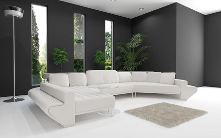 living room minimalist: 3D rendering of white couch against gray wall Stock Photo