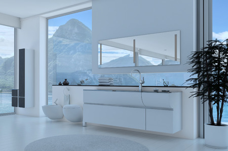 washbasin: Beautiful Interior of a Modern Bathroom | Interior Architecture Stock Photo