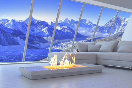 seating furniture: 3D rendering of couch and fireplace with scenery view of mountains. Stock Photo