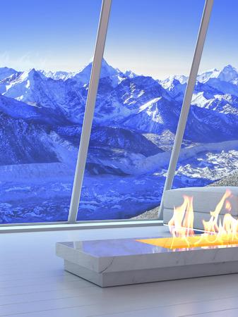 3D rendering di divano e camino con vista scenario di montagne.