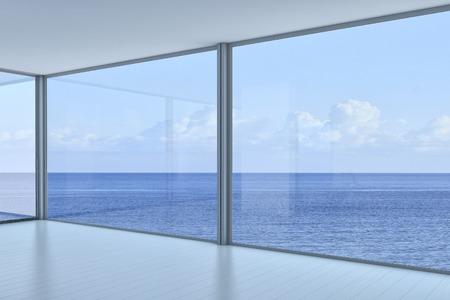 천장 창문과 경치를 볼에 바닥 빈 방 인테리어