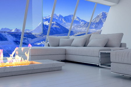 outdoor fireplace: 3D rendering of couch and fireplace with scenery view of mountains. Stock Photo