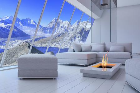 산의 풍경을 볼 수있는 소파와 벽난로의 3D 렌더링.