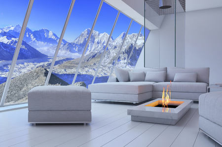 suite: 3D rendering of couch and fireplace with scenery view of mountains. Stock Photo