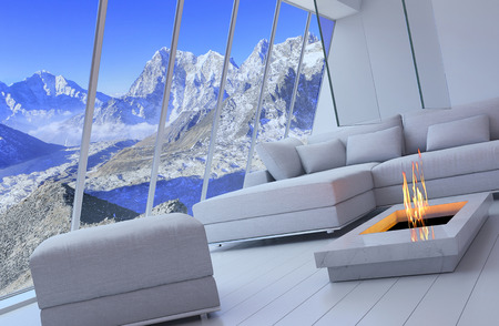 3D rendering of couch and fireplace with scenery view of mountains. photo