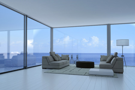 3D rendering: Luxury living room interior with gray couch and seascape view Stock Photo