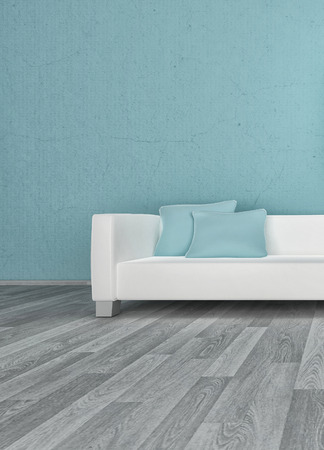 3D rendering of loft apartment interior with white couch against blue wall photo