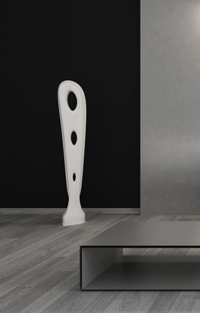 3D rendering of modern decorative item against black wall photo