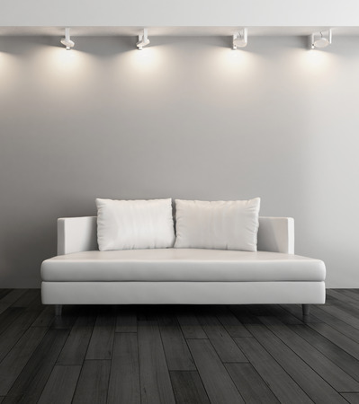 living room: 3D rendering of modern couch against gray wall