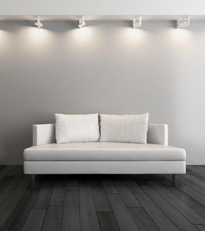 3D-Rendering von modernen Couch gegen graue Wand