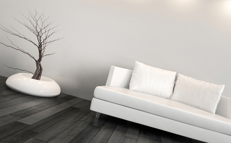 3D rendering of modern couch against gray wall photo