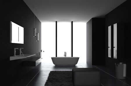 Interior of Luxurious Black Design Bathroom photo