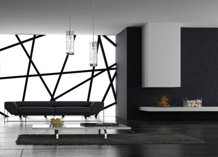 Representación 3D del interior apartamento tipo loft con sofá minimalista Foto de archivo - 32226336