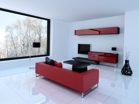 shiny floor: 3D rendering of living room and tv storage combination