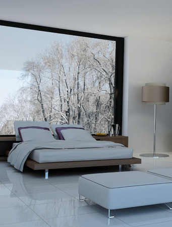 bedroom furniture: Ultramodern bedroom interior with double bed against panorama windows Stock Photo