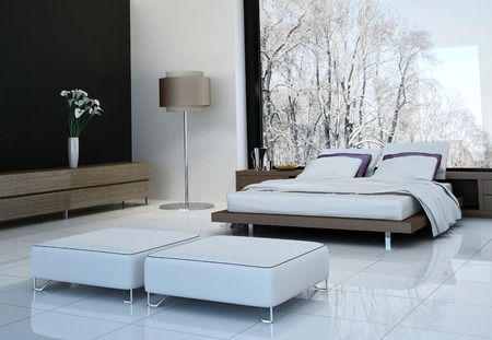 Ultramodern bedroom interior with double bed against panorama windows 스톡 콘텐츠