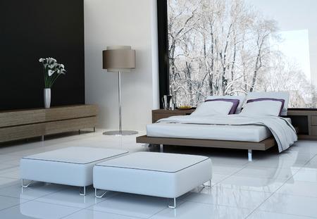 Hypermodern interieur met een tweepersoonsbed tegen panorama ramen van de slaapkamer