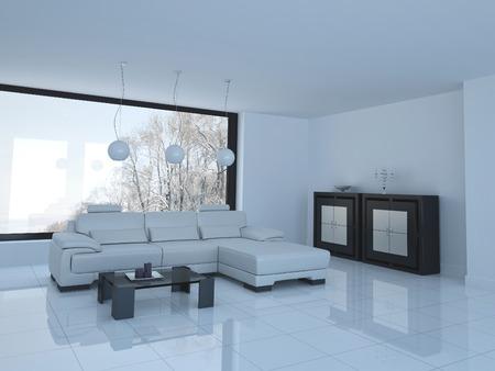 3D rendering of loft apartment interior photo