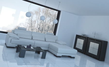 seating furniture: 3D rendering of loft apartment interior