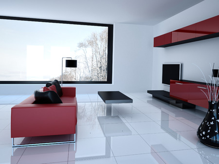 3D rendering of living room and tv storage combination photo