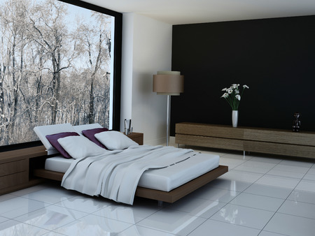 hotel suite: Ultramodern bedroom interior with double bed against panorama windows Stock Photo