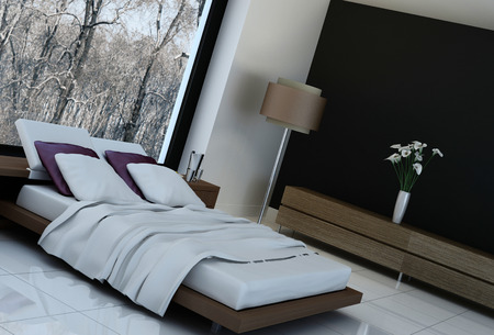 Ultramodern bedroom interior with double bed against panorama windows photo
