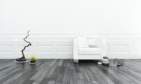 Upholstered white leather chair in front of bright wall