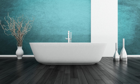 bathroom design: White bathtub against turquoise wall