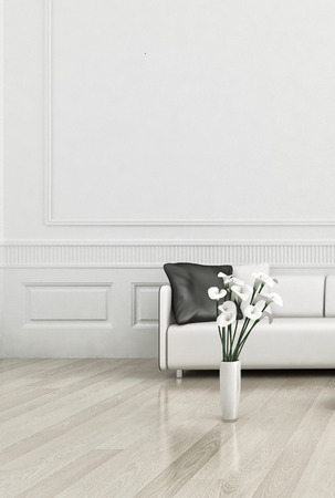 floor lamp: 3D rendering of modern white couch against wall