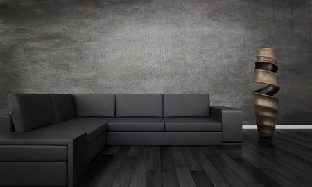 3D rendering of loft apartment interior with couch Фото со стока