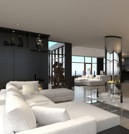 3D rendering of spacious living room