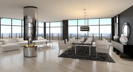 3D rendering of spacious living room photo