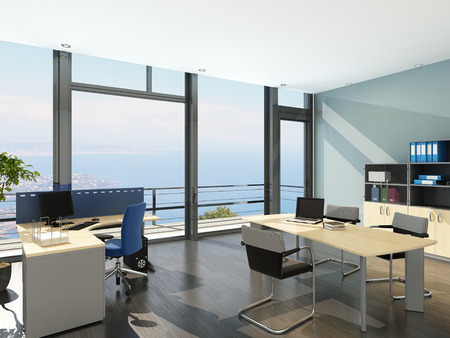 desk tidy: 3D rendering of modern office interior with scenic view