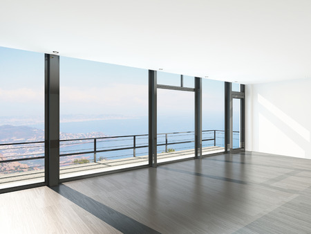 Empty room interior with French windows and scenic view photo